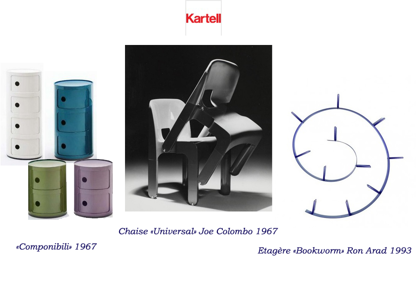 """meuble de rangement componibili, chaise Universal de Joe Colombo, étagère """"Bookworm"""" de Ron Arad"""