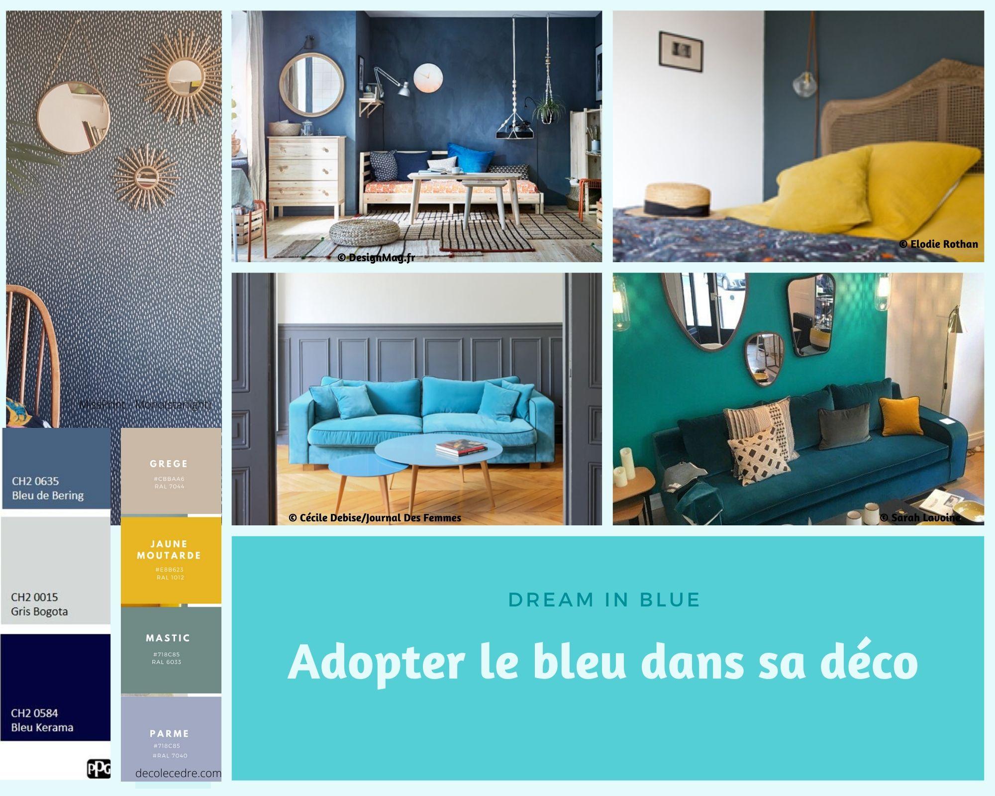 différents exemples pour adopter le bleu dans sa déco