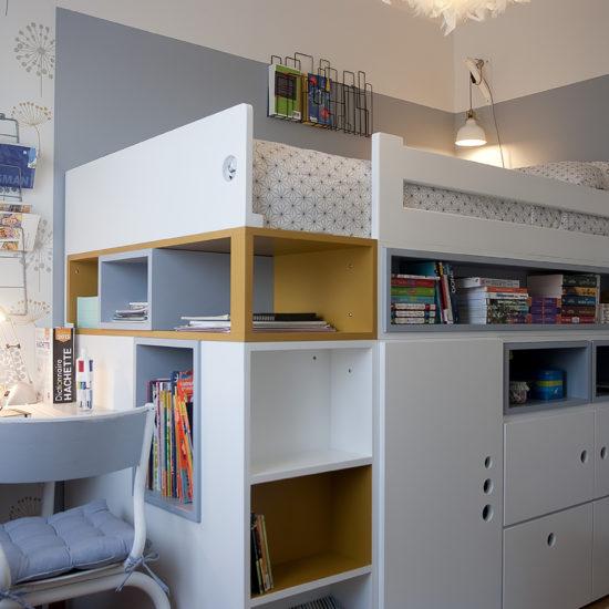 chambre d'ado optimisée avec lit et rangement